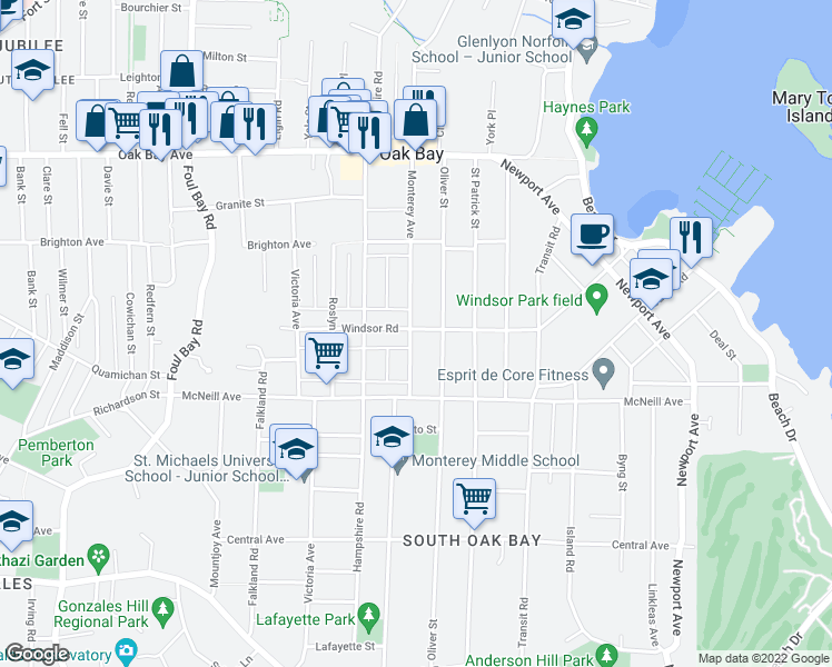 map of restaurants, bars, coffee shops, grocery stores, and more near 2267 Windsor Road in Victoria