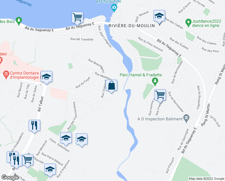 map of restaurants, bars, coffee shops, grocery stores, and more near 1170 Rue Melançon in Saguenay
