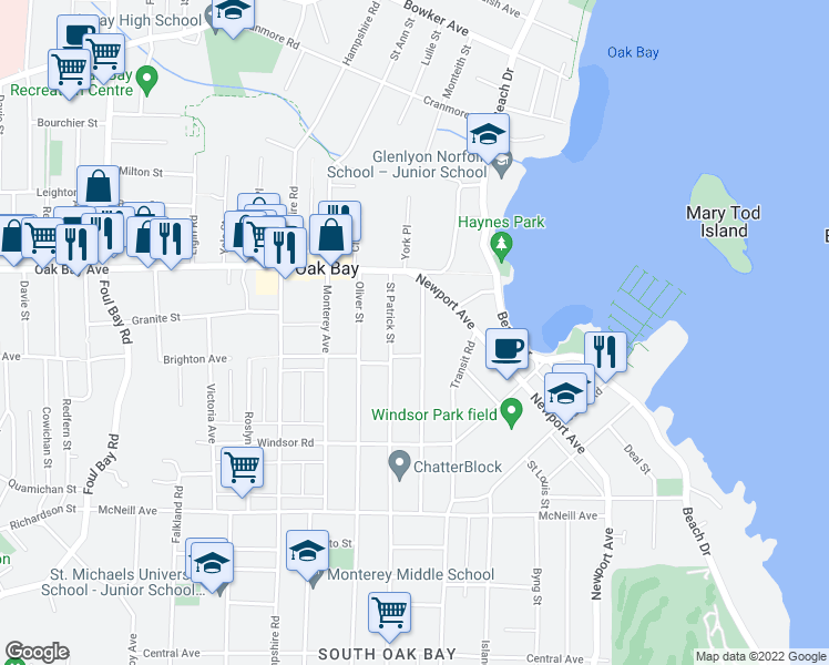 map of restaurants, bars, coffee shops, grocery stores, and more near 1354 Saint David Street in Victoria
