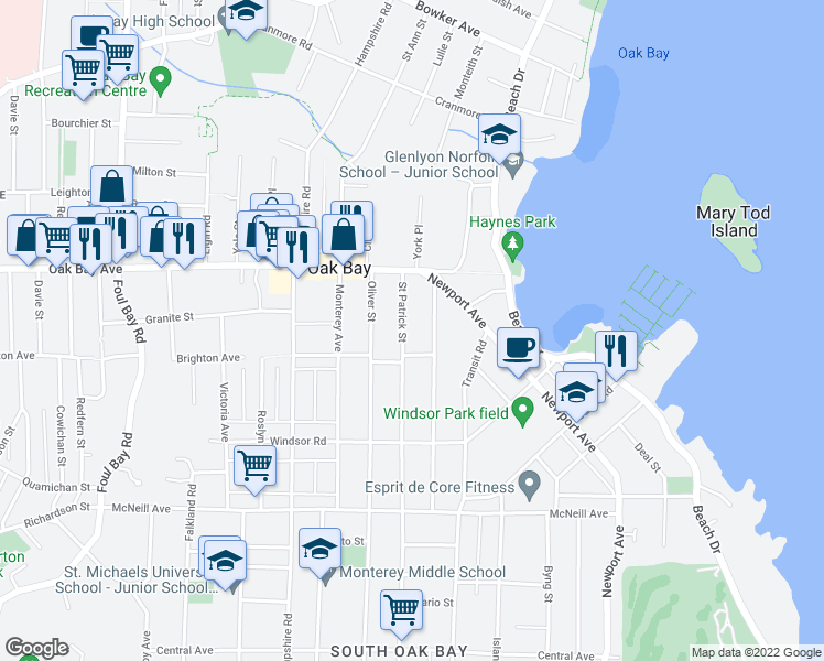 map of restaurants, bars, coffee shops, grocery stores, and more near 1359 Saint Patrick Street in Victoria