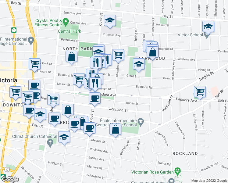 map of restaurants, bars, coffee shops, grocery stores, and more near 1500 Chambers Street in Victoria