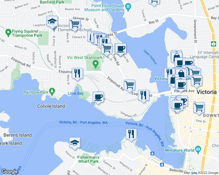 map of restaurants, bars, coffee shops, grocery stores, and more near 60 Saghalie Road in Victoria