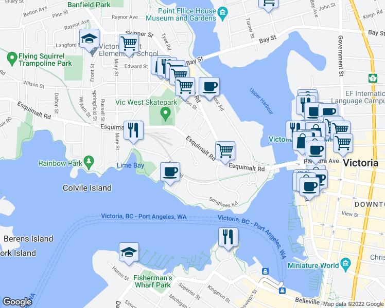 map of restaurants, bars, coffee shops, grocery stores, and more near Saghalie Road in Victoria