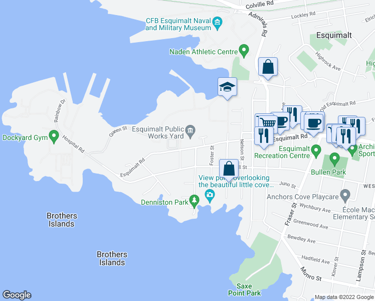 map of restaurants, bars, coffee shops, grocery stores, and more near 1405 Esquimalt Road in Victoria