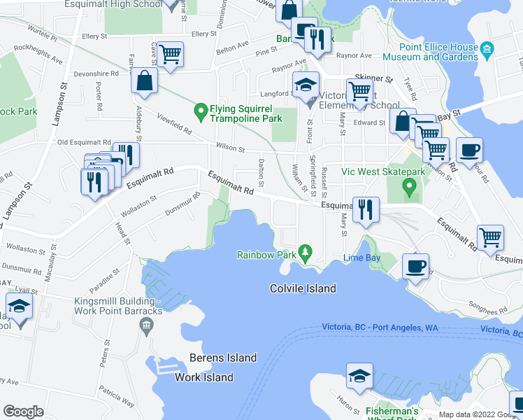 map of restaurants, bars, coffee shops, grocery stores, and more near 701 Esquimalt Road in Victoria