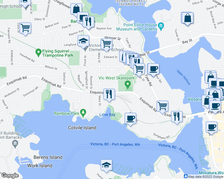 map of restaurants, bars, coffee shops, grocery stores, and more near 405 Catherine Street in Victoria