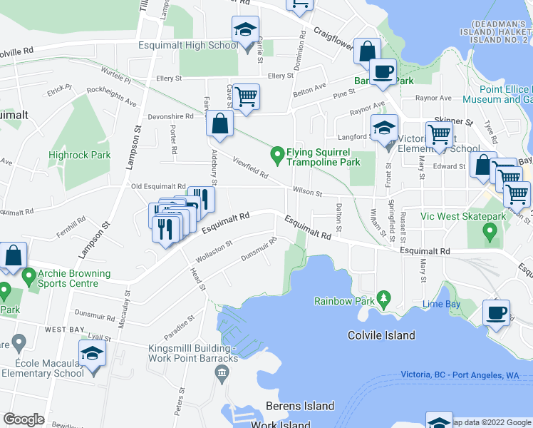 map of restaurants, bars, coffee shops, grocery stores, and more near 803 Esquimalt Road in Victoria