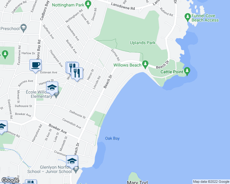map of restaurants, bars, coffee shops, grocery stores, and more near 2560 Esplanade in Victoria