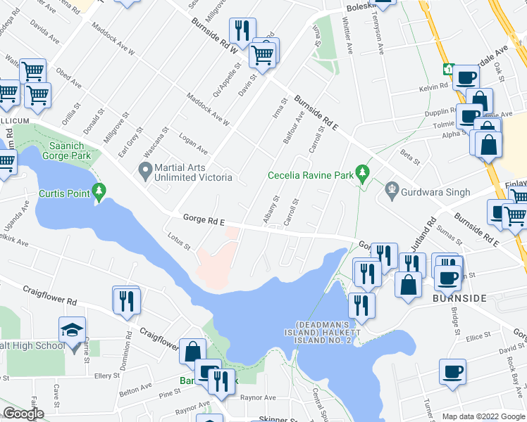 map of restaurants, bars, coffee shops, grocery stores, and more near 3032 Albany Street in Victoria