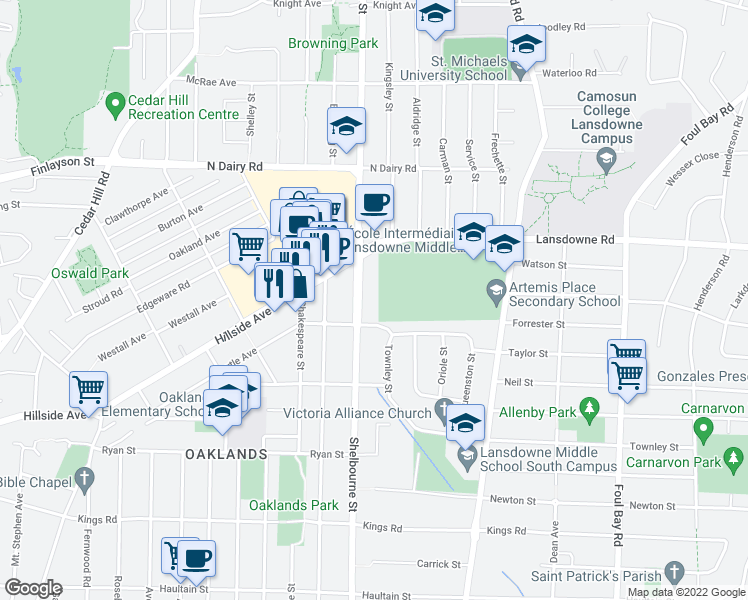 map of restaurants, bars, coffee shops, grocery stores, and more near 3051 Shelbourne Street in Victoria