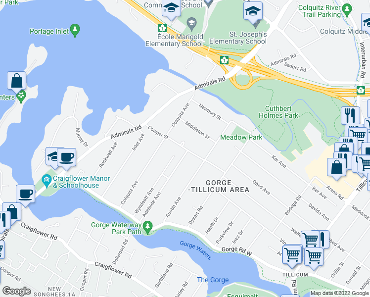 map of restaurants, bars, coffee shops, grocery stores, and more near Cowper Street in Victoria