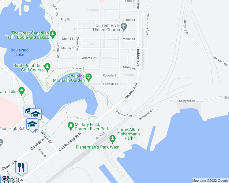 map of restaurants, bars, coffee shops, grocery stores, and more near 355 Adelaide Street in Thunder Bay