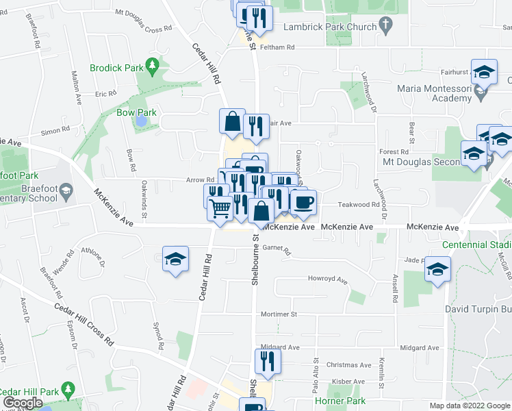 map of restaurants, bars, coffee shops, grocery stores, and more near 3965 Shelbourne Street in Victoria