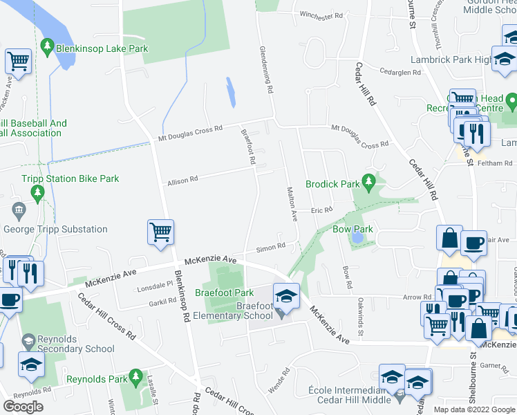 map of restaurants, bars, coffee shops, grocery stores, and more near 4035 Braefoot Road in Victoria