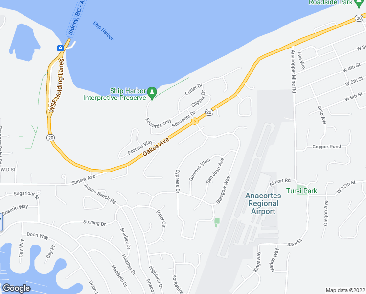 map of restaurants, bars, coffee shops, grocery stores, and more near 4611 Camano Place in Anacortes