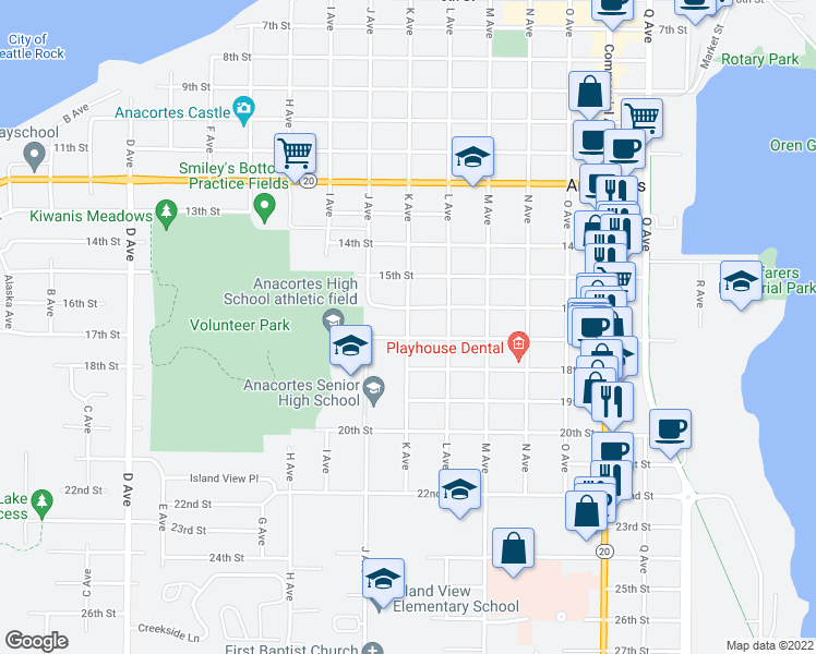 map of restaurants, bars, coffee shops, grocery stores, and more near 1620 K Avenue in Anacortes