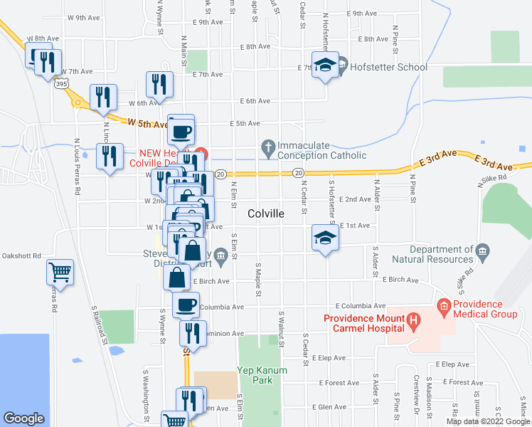 map of restaurants, bars, coffee shops, grocery stores, and more near in Colville