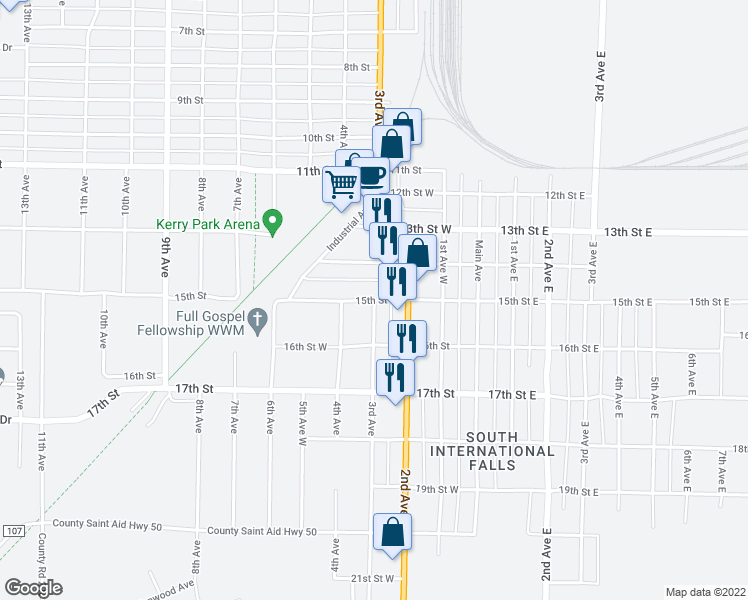 map of restaurants, bars, coffee shops, grocery stores, and more near 15th Street West in International Falls