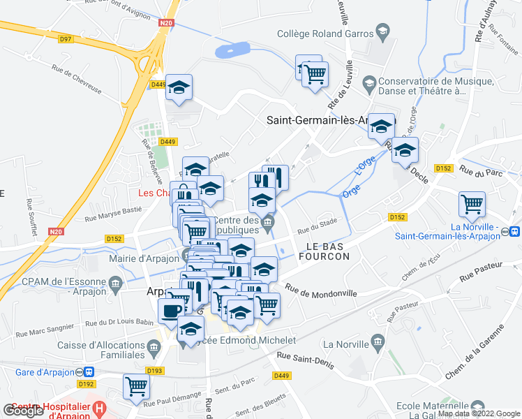 map of restaurants, bars, coffee shops, grocery stores, and more near 15 Rue Louise Roger in Saint-Germain-lès-Arpajon
