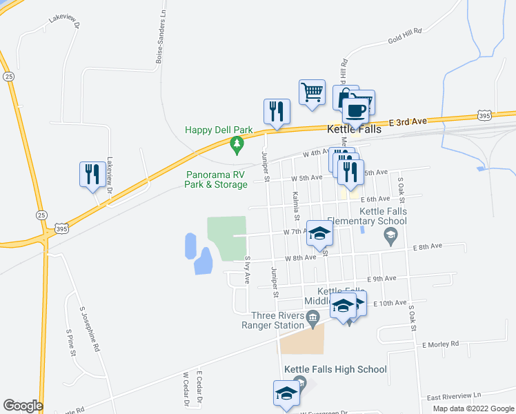 map of restaurants, bars, coffee shops, grocery stores, and more near 401-499 West 6th Avenue in Kettle Falls