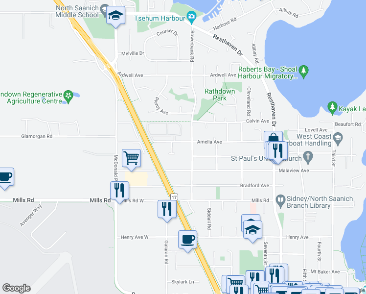 map of restaurants, bars, coffee shops, grocery stores, and more near 2135 Amelia Avenue in Sidney