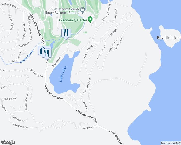 map of restaurants, bars, coffee shops, grocery stores, and more near 34 Lake Louise Drive in Bellingham