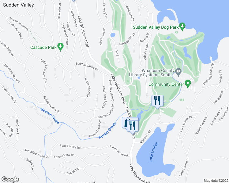 map of restaurants, bars, coffee shops, grocery stores, and more near 443 Sudden Valley in Bellingham
