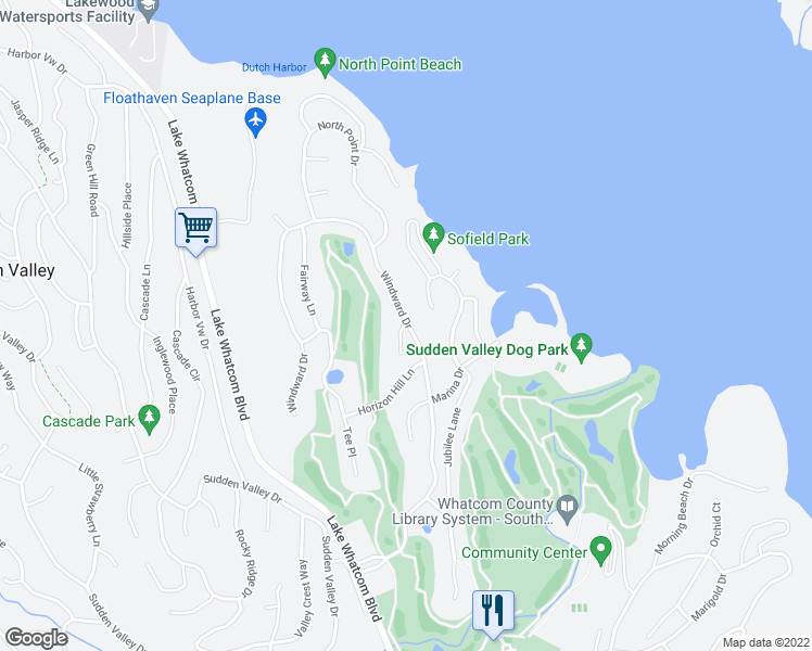 map of restaurants, bars, coffee shops, grocery stores, and more near 1-15 Bogey Lane in Bellingham
