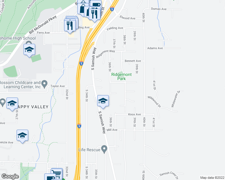 map of restaurants, bars, coffee shops, grocery stores, and more near 911 36th Street in Bellingham