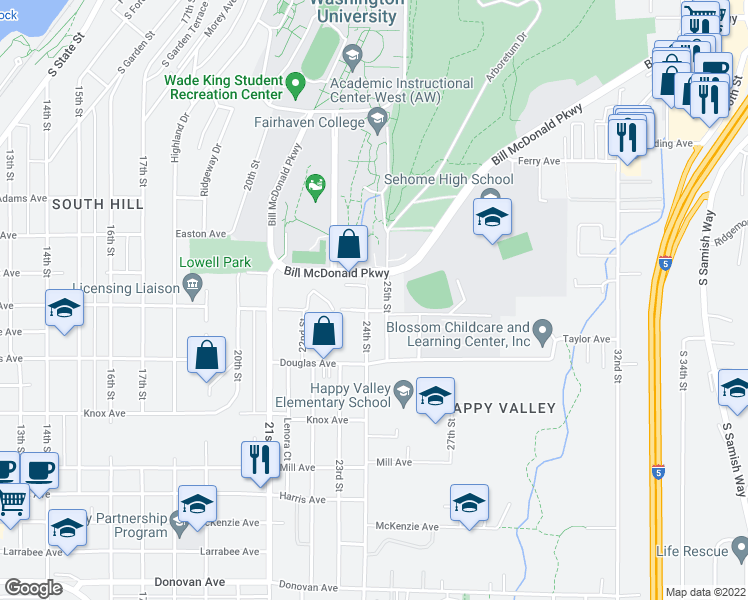 map of restaurants, bars, coffee shops, grocery stores, and more near 2401 Taylor Avenue in Bellingham