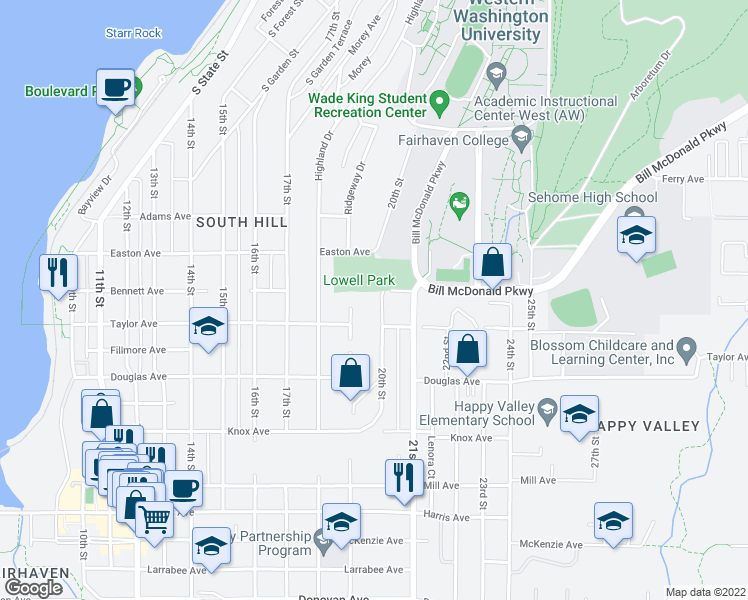 map of restaurants, bars, coffee shops, grocery stores, and more near 800 20th Street in Bellingham