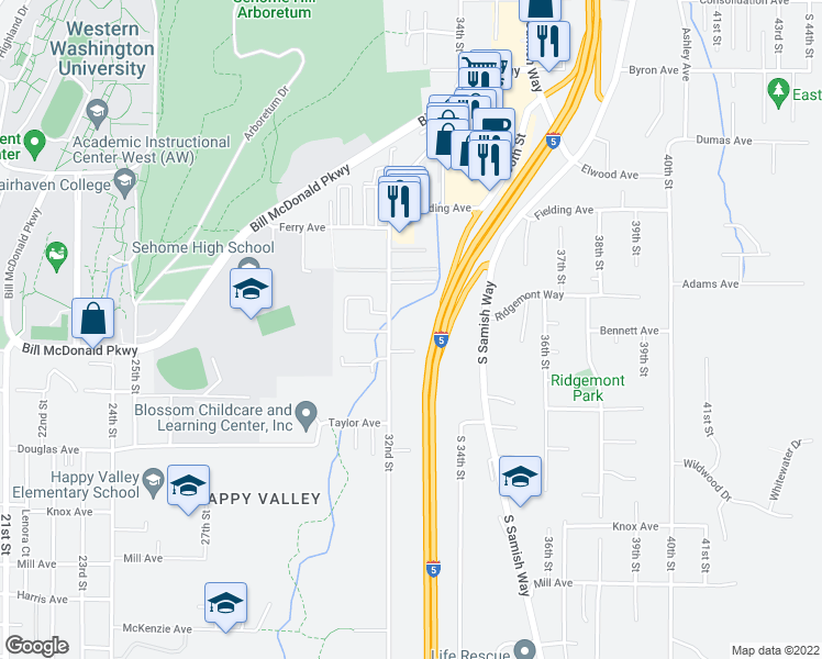 map of restaurants, bars, coffee shops, grocery stores, and more near 705 32nd Street in Bellingham