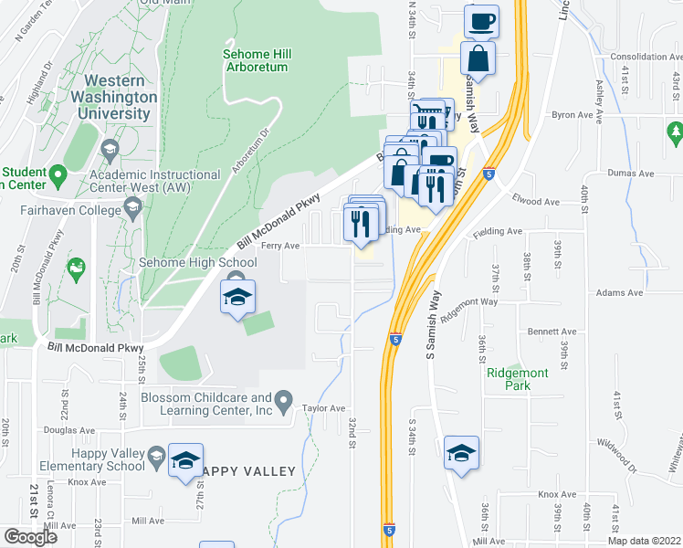 map of restaurants, bars, coffee shops, grocery stores, and more near 524 32nd Street in Bellingham