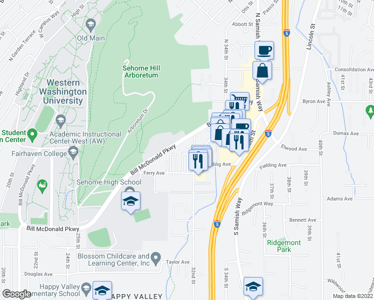 map of restaurants, bars, coffee shops, grocery stores, and more near 316 32nd Street in Bellingham