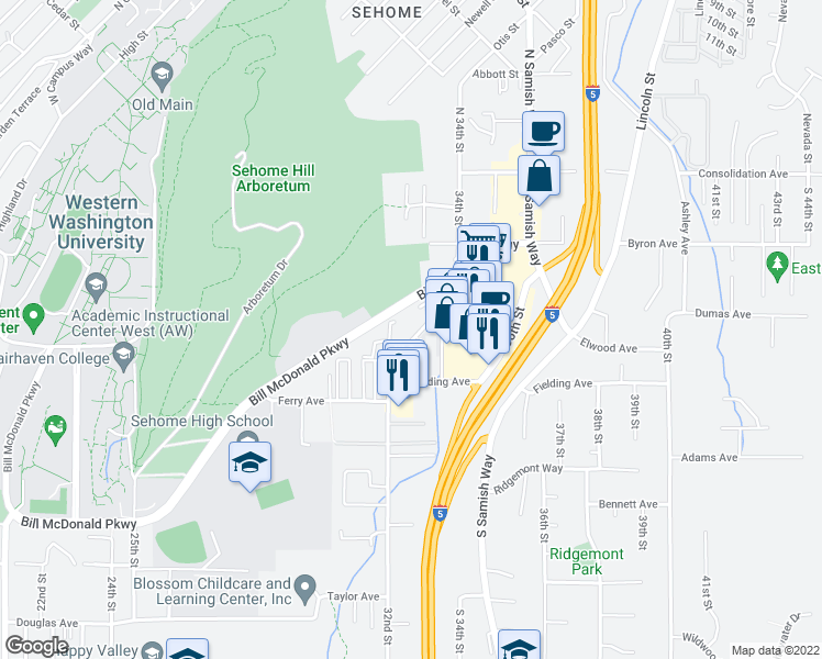 map of restaurants, bars, coffee shops, grocery stores, and more near 340 32nd Street in Bellingham