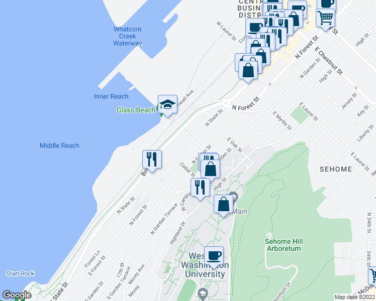 map of restaurants, bars, coffee shops, grocery stores, and more near 525 North State Street in Bellingham
