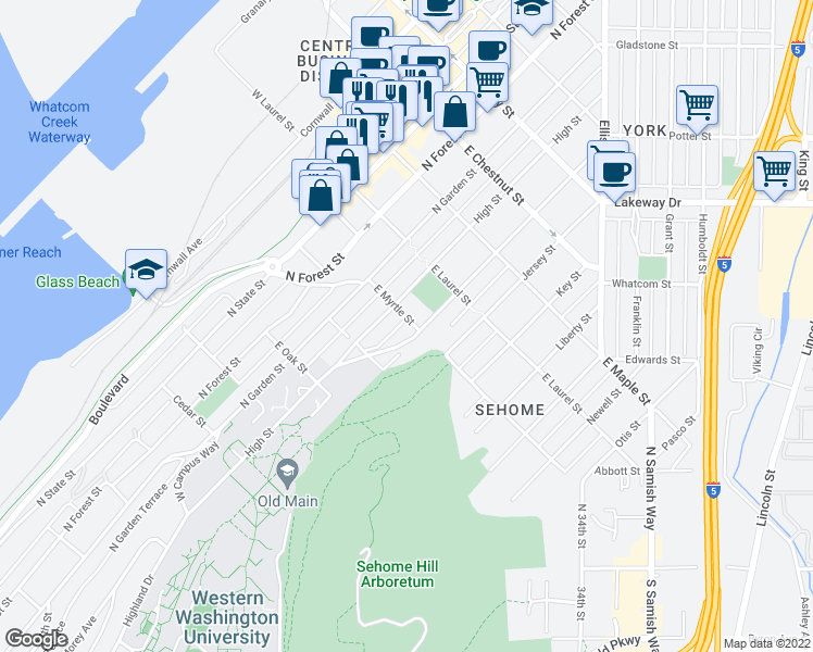 map of restaurants, bars, coffee shops, grocery stores, and more near 614 East Myrtle Street in Bellingham