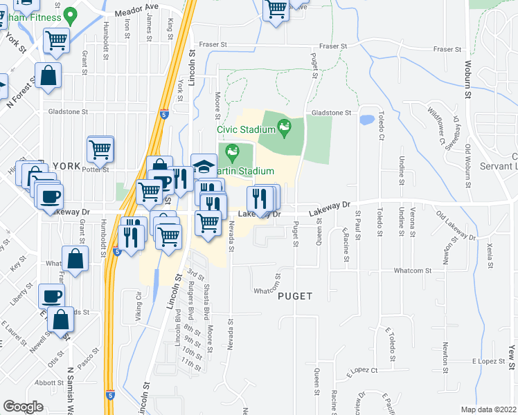 map of restaurants, bars, coffee shops, grocery stores, and more near 1301 Lakeway Drive in Bellingham