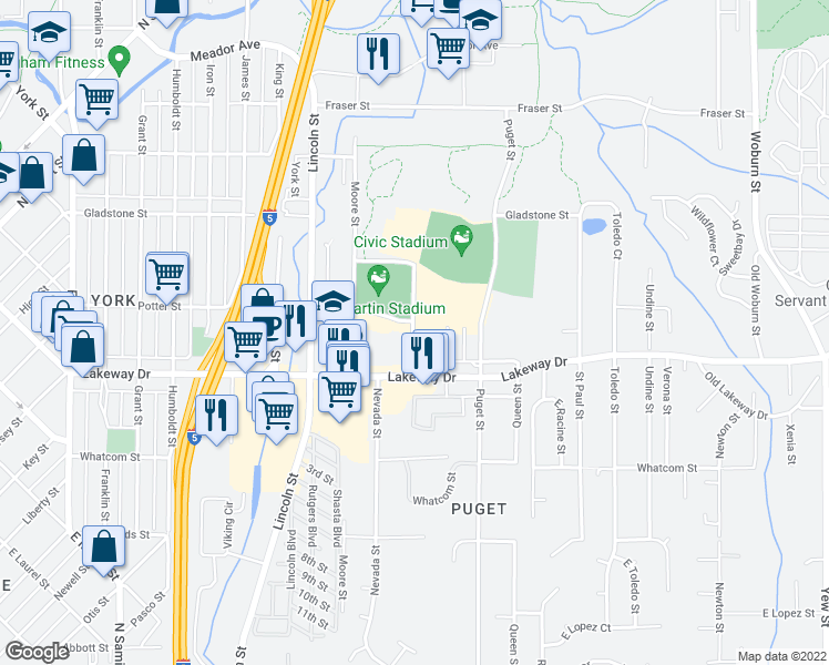 map of restaurants, bars, coffee shops, grocery stores, and more near 1312 Orleans Street in Bellingham