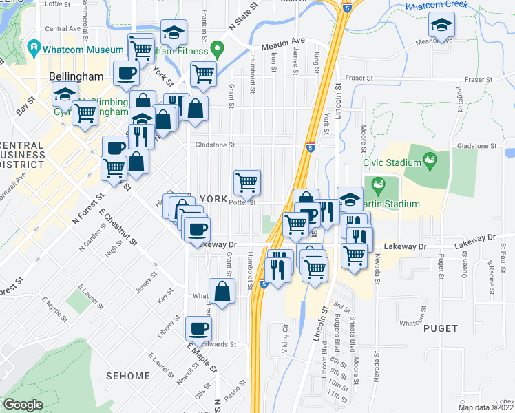 map of restaurants, bars, coffee shops, grocery stores, and more near 1350 Humboldt Street in Bellingham