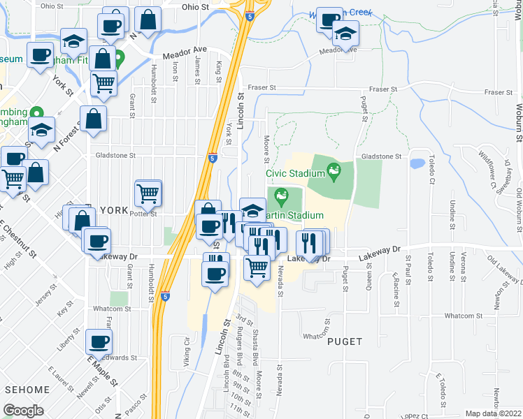 map of restaurants, bars, coffee shops, grocery stores, and more near 1025 Potter Street in Bellingham
