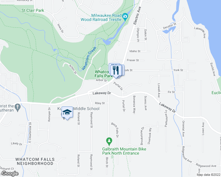 map of restaurants, bars, coffee shops, grocery stores, and more near 3609 Lakeway Drive in Bellingham