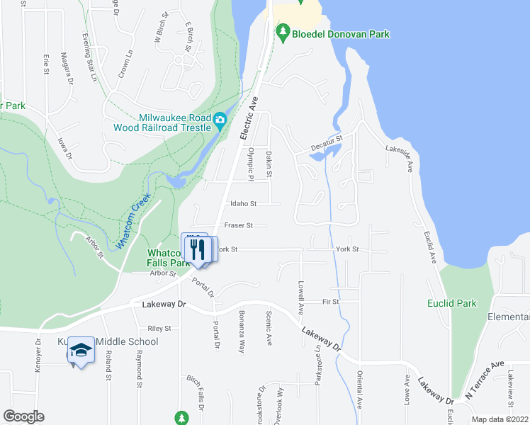 map of restaurants, bars, coffee shops, grocery stores, and more near 3842 Idaho Street in Bellingham