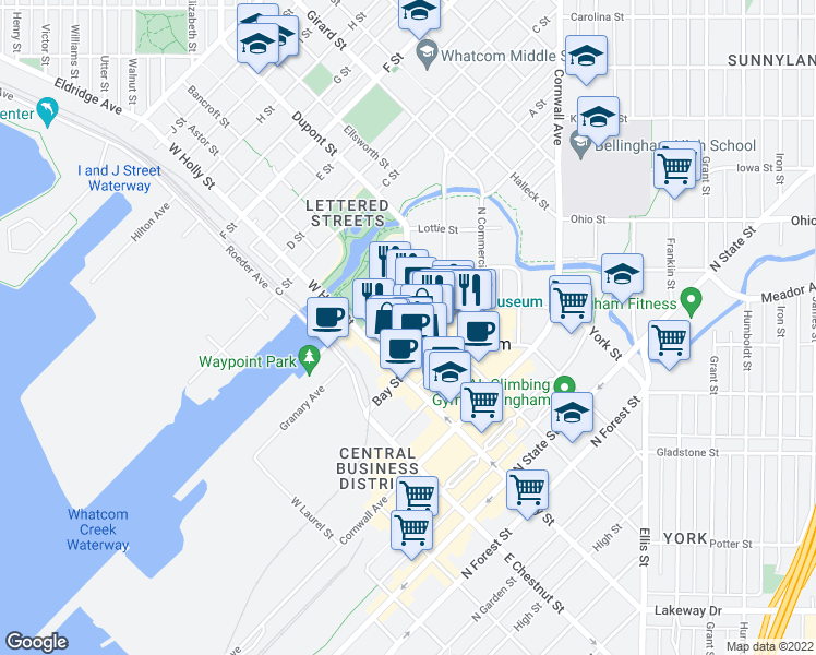 map of restaurants, bars, coffee shops, grocery stores, and more near 121 Prospect Street in Bellingham