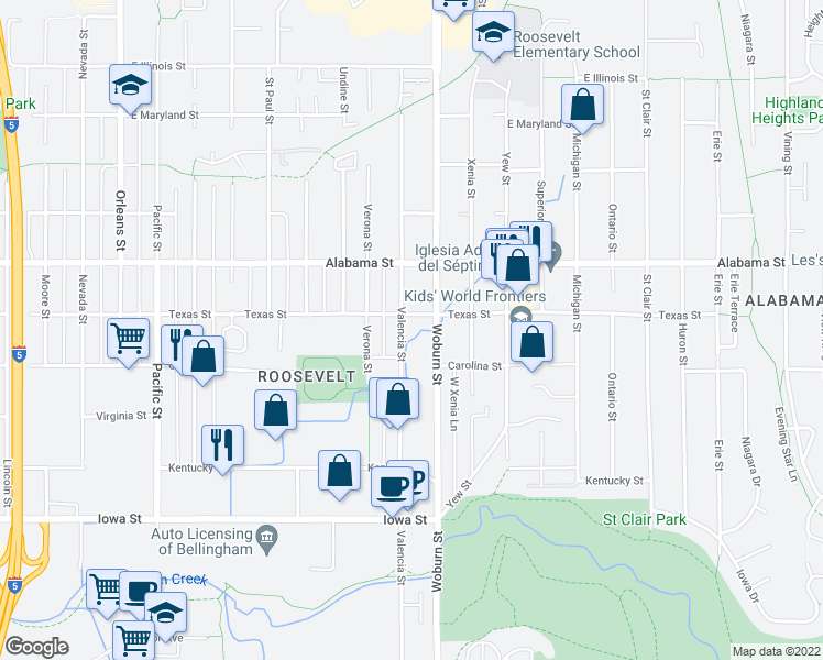 map of restaurants, bars, coffee shops, grocery stores, and more near 2400-2498 Valencia Street in Bellingham