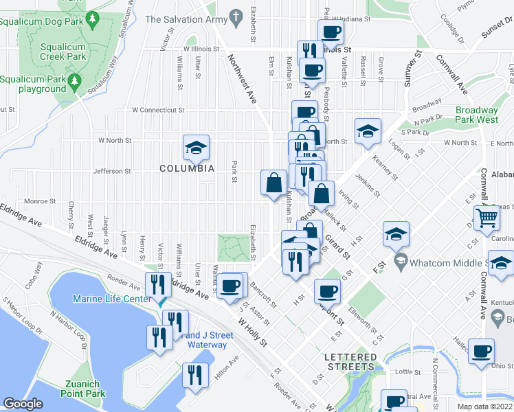 map of restaurants, bars, coffee shops, grocery stores, and more near 2330 Elizabeth Street in Bellingham