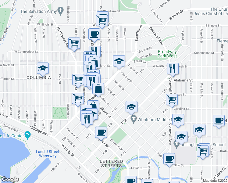 map of restaurants, bars, coffee shops, grocery stores, and more near 2200 J Street in Bellingham