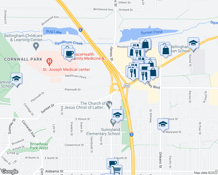map of restaurants, bars, coffee shops, grocery stores, and more near 800 East Sunset Drive in Bellingham