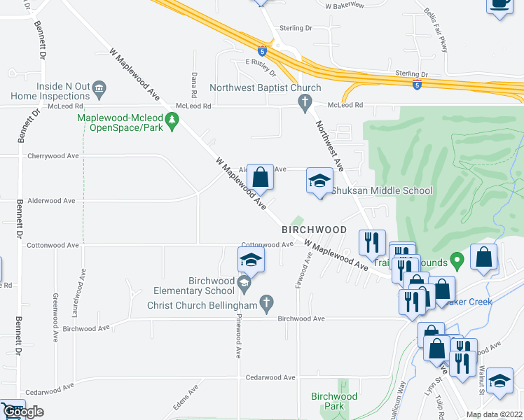 map of restaurants, bars, coffee shops, grocery stores, and more near 2835 West Maplewood Avenue in Bellingham