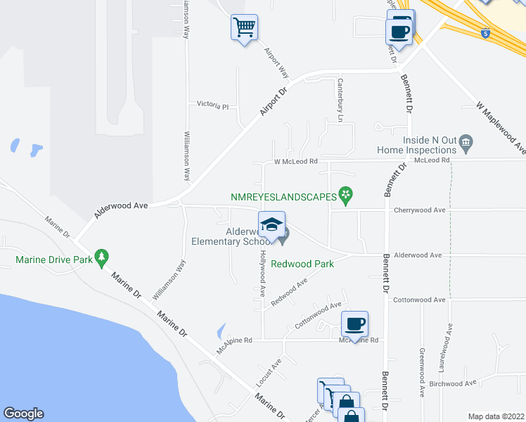map of restaurants, bars, coffee shops, grocery stores, and more near 3372 Hollywood Avenue in Bellingham